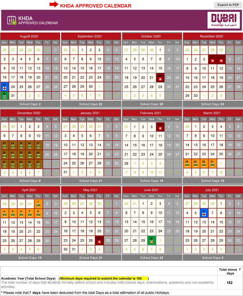 KHDA Approved School Calendar 2020